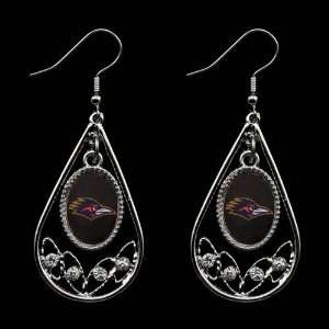 Texas San Antonio Roadrunners Ladies Tear Drop Crystal Dangle Earrings