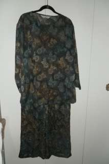 Melrose Greens/Browns Top & Pant Set w/Fall Leaves XL