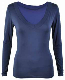 NEW LADIES LONG SLEEVE V NECK STRETCH WOMENS TOP SIZE 8   14