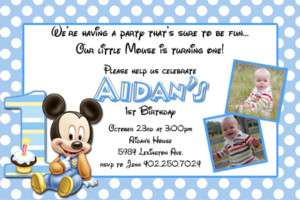 Baby Mickey Minnie Mouse 1st Birthday Invitations