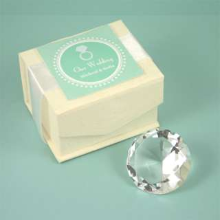 Diamond Shaped Small Crystal Paperweight Favor or Gift