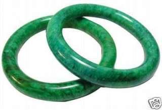 Wonderful big pair natural green jade solid bracelet