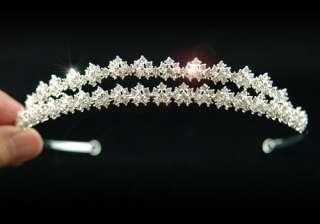 Row Flowers Rhinestone Bridal Wedding Tiara T1142