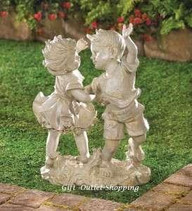 New Garden Decor Girl And Boy Children Outdoor Statue