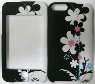iPod Touch 2nd 3rd Gen HARD Snapon Rubberized Cover Case FLOWERS Black