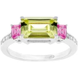Sterling Silver Pink and Green Cubic Zirconia Ring