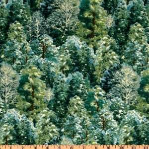 44 Wide Winter Enchantment Forest Green/Pine Fabric By