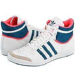 adidas Originals Top Ten Hi Sleek W White/Teal/Neon Red Athletic