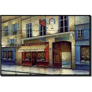 Cafe vin Bistro by C. H. Ching   Village Scene Tumbled Marble Mural 16