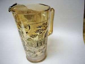 AMBER GLASS WATER PITCHER ORIENTAL PATTERN
