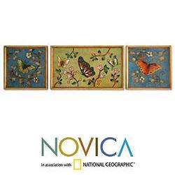 Set of 3 Reverse Painted Glass Butterfly Peace Wall Art (Peru