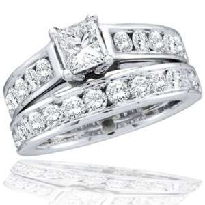 Princess Diamond Round Engagement Ring Wedding Band Bridal Set 14k