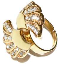 Gold Dual Angel Wing Wrap Crystal Ring Charm Jewelry