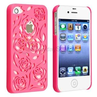 Pink Carving Flower Rose Hard Cover case for iphone 4 G 4S Verizon
