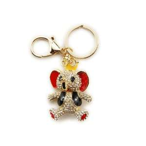 Elephant King Vest Crown Clear Crystal Rhinestone Keychain Jewelry