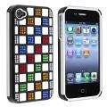 White TPU/ Black Plastic Hybrid Diamond Case for Apple iPhone 4/ 4S