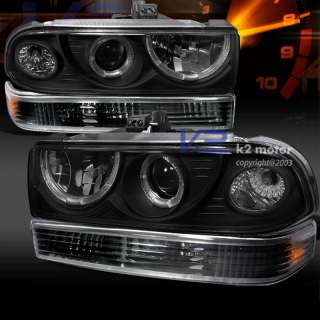 1998 2004 CHEVY S10 BLACK HALO HEAD LIGHTS+PARKING LAMP