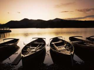 Sunset at Derwent Water, Keswick, Lake District, Cumbria, England