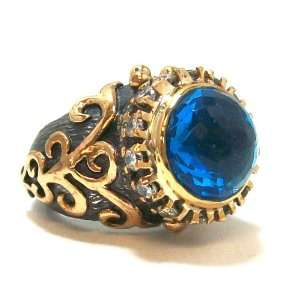 London Blue Topaz 24k Gold Dome Ring with CZ Accents Size 7 Jewelry