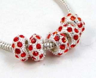 Rhinestone CRYSTAL Spacer European Bead fit Charm Bracelet 5pc
