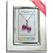 Luminesse Pink Crystal Double Hearts Pendant on 18 Sterling Silver