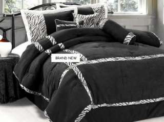 ZEBRA Bed in a Bag Black &White Fur Suede Comforter Set