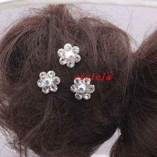 10pcs 20pcs Wedding Bridal Prom Crystal Flower Hair Pins Clips