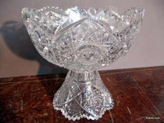 Antique Cut Glass Punch bowl with Pedestal Base