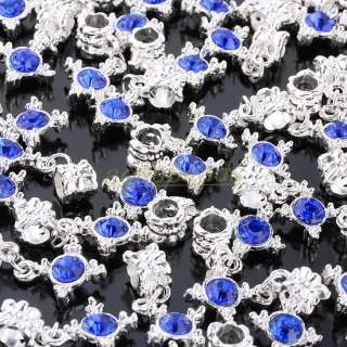 Austrian Crystal Dangle Cross Religious Charm Beads Fit European Style