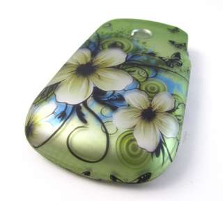GREEN WHITE FLOWERS HARD SHELL SNAP ON CASE COVER LG 800G PHONE