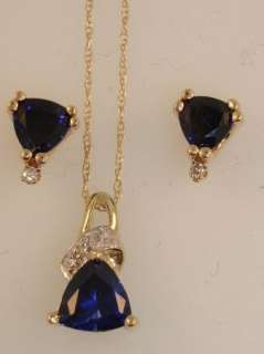 BEAUTIFUL 10K GOLD BLUE TOPAZ & DIAMOND NECKLACE & EARRINGS