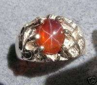 MENS BIG ORANGE LINDE STAR SAPPHIRE CREATED S/S RING