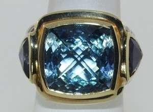 YURMAN STERLING SILVER & 18 KT. GOLD IOLITE & BLUE TOPAZ RING