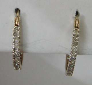 Beautiful .20ctw DIAMOND 10K Gold Hoop Earrings 1.6g