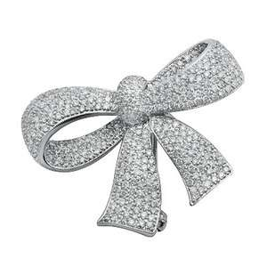 WHITE GOLD .2.03C PAVE DIAMOND BOW PIN BROOCH PENDANT NECKLACE
