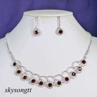 Red Rhinestone Clear Crystal Silver Necklace Earrings Set P034R