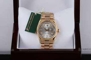 Mens Rolex 18K Silver Diamond Dial President Watch