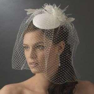 NWT White Vintage Style Bridal Hat with Birdcage Wedding Veil