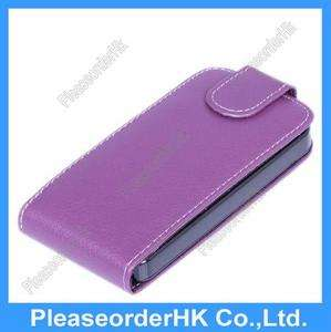 1x Purple Leather Wallet Case Cover Pouch For iPhone 4S 4GS 4G