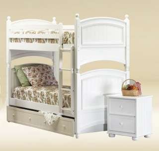 NEW HAMPTON WHITE FINISH SOLID WOOD TWIN BUNK BED
