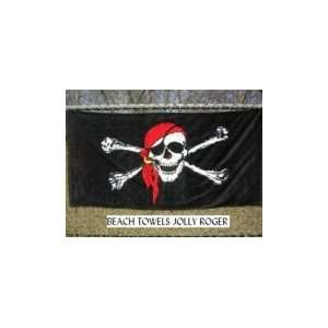 Jolly Roger Red Cap Black Beach Towel