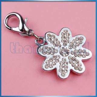 New Pet Tag Dog Cat Crystal Collar Charm Silver Flower