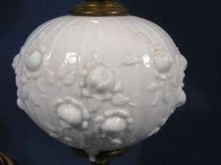 Vintage Rose Pattern FENTON White Milk Glass Table Light Lamp