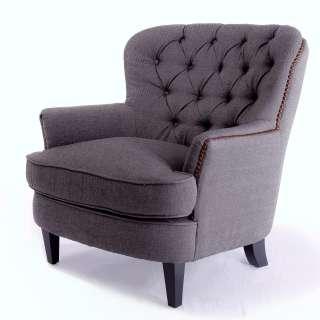 Tafton Tufted Grey Fabric Club Chair