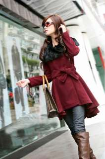 Women Wool Winter Noble real Rabbit collar Coat 4Color