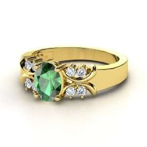 Gabrielle Ring, Oval Emerald 14K Yellow Gold Ring with
