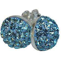Sterling Silver Aqua Crystal Studded Dot Earrings