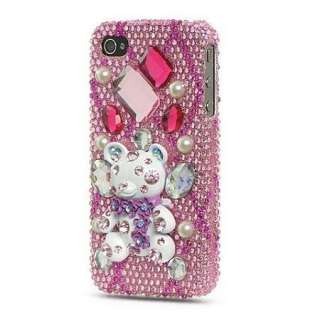 Pink TEDDY Bear DIAMOND Bling Cover 4 Apple iPHONE 4G