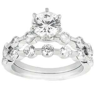 0.90 ct Ladys Round Cut Diamond Engagement Bridal Set in