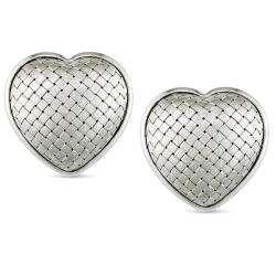 18k White Gold Heart Shaped Stud Earrings